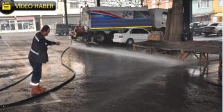 Karabük'te Caddeler Sokaklar Sürekli Yıkanıyor